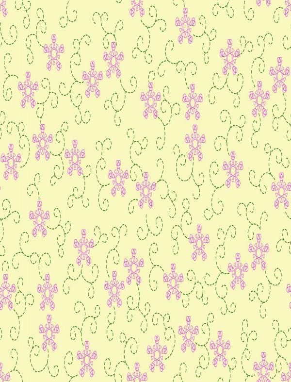 图3-14的传统墙布设计选择花草式样,以q=5的均匀随机网图形的花型