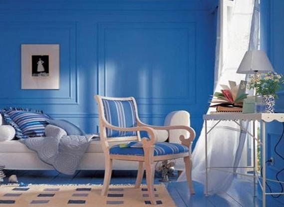 蓝色墙壁配什么欧式窗帘