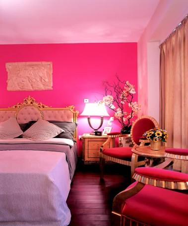 红色墙漆欧式风格