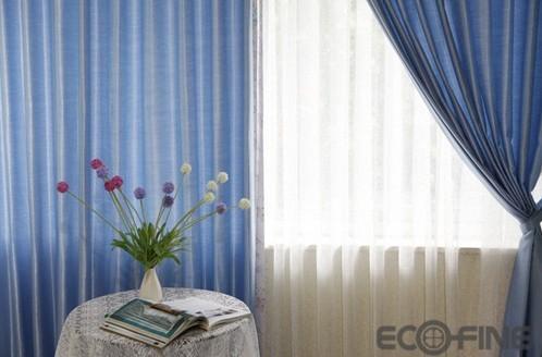 淡蓝色窗帘效果图欧式花型