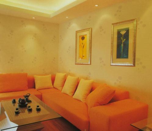 橙色营造客厅