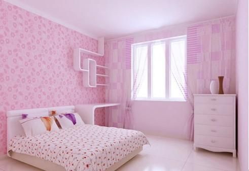 粉色窗帘浅棕色地板效果图