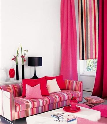 欧式沙发条纹窗帘