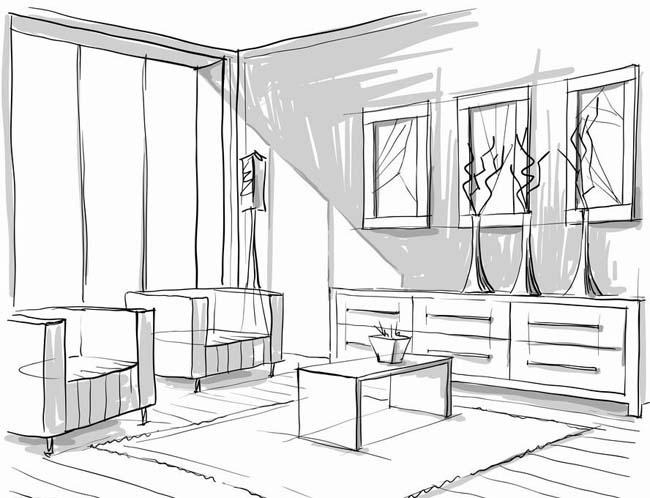 家装房子手绘画